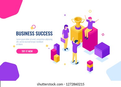 team spirit and teamwork isometric, desire to win, business success, joyful successful people, flat vector illustration