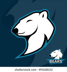 Team sport logo. Mascot Polar Bears logotype.