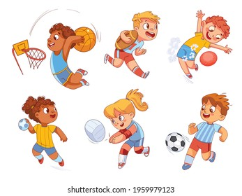 Team Sport. Volleyball, football, basketball, rugby, handball, dodgeball. Set. Colorful cartoon characters. Funny vector illustration. Isolated on white background