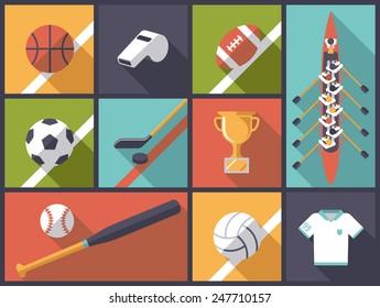 Team Sports equipment Flat Design long shadow vector Illustration.