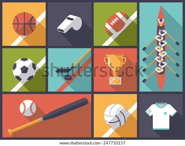 Team Sports Equipment Flat Design Long Stock Vector Royalty