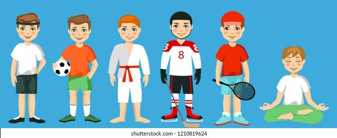 Team sports for kids including Football,  tennis, hockey, yoga, gymnastics.