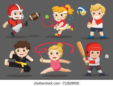Team sports for kids including Karate, Volleyball, American Football, Baseball, Tennis, Gymnastic.