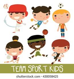 team sports kids set. baseball, handball, soccer, volleyball, basketball, rugby kids.