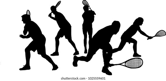 Team of squash players vector