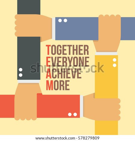 team stands together everyone achieve more stock vector royalty