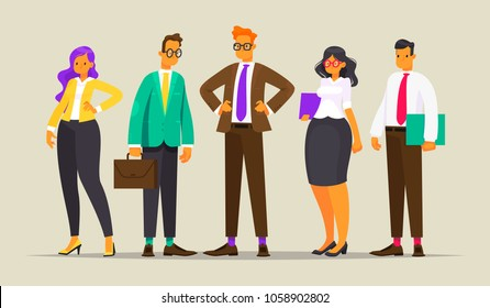 Team of successful business people. Vector illustration in a flat style