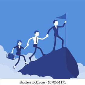 Team of successful businesspeople conquering mountain market top. Company accomplishing a desired aim to reach highest, uppermost profit point, startup result. Vector illustration, faceless characters