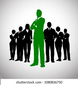 A team of successful executives led by a great leader in green who stands in front of them.