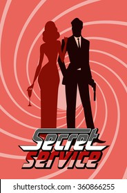 Team of super agents. Posing on camera. In gun barrel. Sexual woman in red dress. Illustration