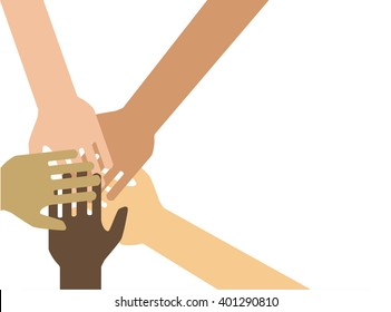 Team symbol. Hands of all the peoples. Vector EPS 10.