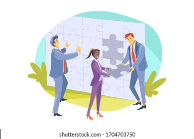 Team, teamwork, partnership, cooperation, business concept. Businessmen women colleagues clerks managers partners coworkers collaborate and collect jigsaw puzzle together. Teamwork and team support.