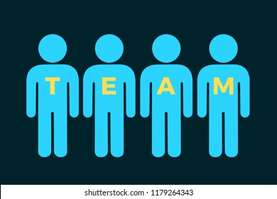 Team and teamwork - people are united collectively in group. Vector illustration