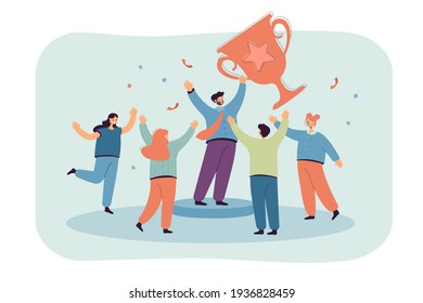 Team of tiny office people employees winning gold cup flat vector illustration. Cartoon happy characters with award or trophy. Business achievement and teamwork concept