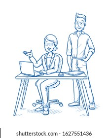 Team of two happy, modern business people at a desk. Hand drawn blue line art cartoon vector illustration