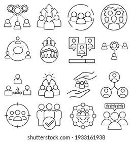 Team Vector icon set. development illustration sign collection. progress symbol or logo.