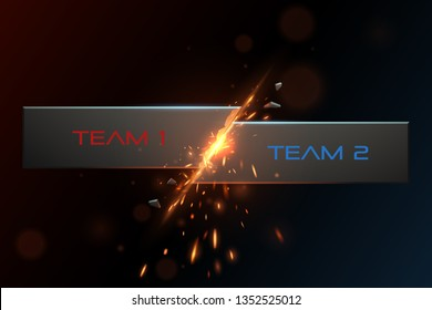 Team versus background with sparks effect