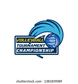 Team Volleyball Club Competition Tournament Championship Logo Vector Template