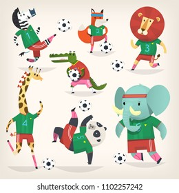 Team of wild animals playing football. Second team. Cute animal characters in  different positions. Vector illustrations. Sport is for everyone.  Isolated images.