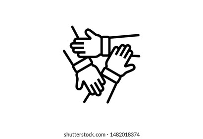 Team Work 3 hands outline icon. Elements of Business illustration Vector Line Sign. Symbol can be used for web, UI, logo, mobile app. Editable Stroke. 1216x1216 Pixels