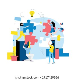 Team work, team building, corporate organization, partnership, problem solving, innovative business approach, brainstorming, unique ideas and skills, people with puzzle pieces flat vector illustration