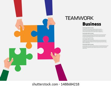 Team work business illustration concept, business hands connect puzzle, flat design vector illustration