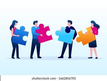 Team work collaboration business illustration flat vector template