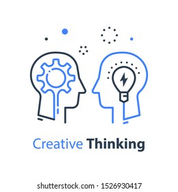 Team work, communication or negotiation, common ground, mutual understanding, creative solution, think outside the box concept, business training or workshop, vector line illustration