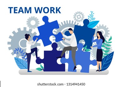 Team work concept. Vector illustration in flat style. People working together for success business. People working hard for better future. Business concept for web banners and brochures.