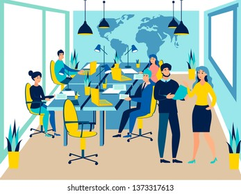 Team work conference meeting. Business talking. Flat style. Cartoon vector illustration