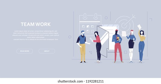 Team work - flat design style colorful banner on gray background with copy space for your text. High quality composition with characters, office managers, business people working. Planning concept