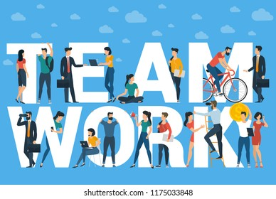 Team work flat design vector caption mock up cor poster, banner, web site page.