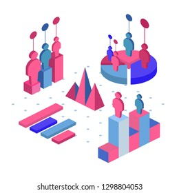 Team work icon, vector symbol in flat isometric style isolated on white background. Set of infographics with data icons, charts and design elements