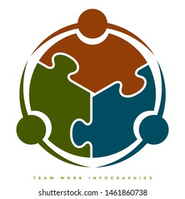 Team work infographic symbol concept illustration having 3 circles and puzzle interlocking shape - Vector