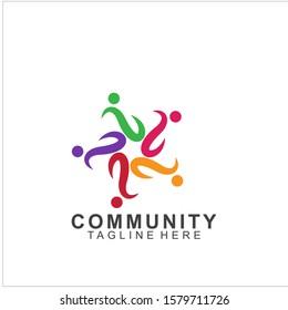 Team Work Logo Design. Social Network Family Friends icon design. Vector illustration