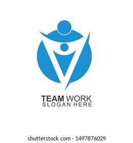 Team Work Logo Design. Together. Modern Social Network Team Logo Design