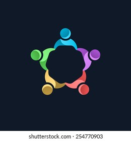 Team work logo template. Concept of community friendship, unity. Isolated on black background. Vector illustration, eps 8.