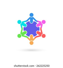 Team work logo template. Concept of community friendship, unity. Isolated on white background. Vector illustration, eps 10.