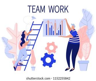 Team work. Modern flat business illustration. Digital banner for web, landing, mock up. Social networks.