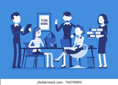 Team work in office. Combined action of a young smart group of people, together moving to effective and efficient result. Business style vector concept illustration