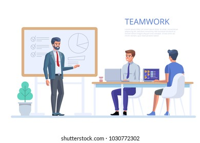 Team work in office. Creative team idea discussion people. Business characters in the working environment. Vector illustration