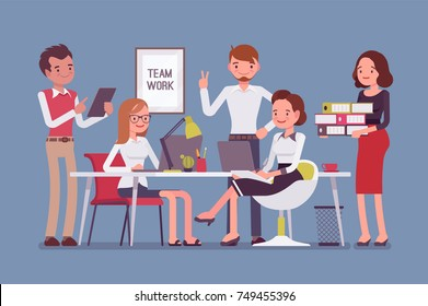 Team work in office. Group of smart happy young people training and sharing business ideas to achieve results in the efficient way. Vector flat style cartoon illustration isolated on blue background