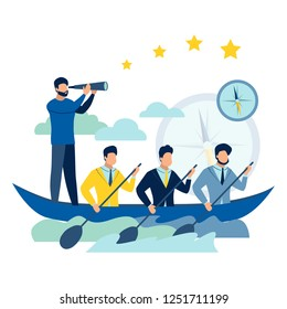 Team work on boat. Business success metaphor in minimalistic flat style. Cartoon vector illustration