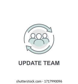 Team work partnership in collaboration strategy. Refresh team interaction. people with arrow reload for reorganization group. Update team icon. Vector illustration. Design on white background. EPS 10