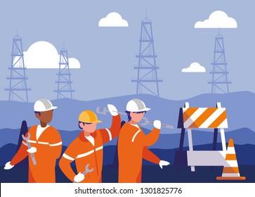 team work people in electrification scene