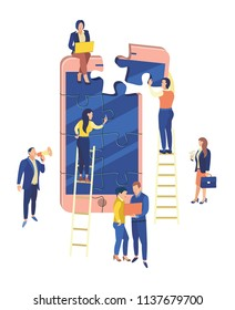 Team work. People in the web business. Vector illustration