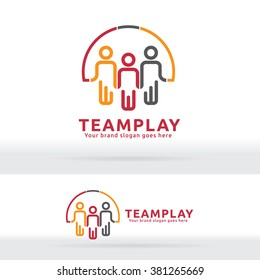 Team Work Play Logo. Community sign. Unity symbol. Company Staff. Public organization. Good relationship colleagues.