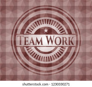 Team Work red emblem or badge with abstract geometric polygonal pattern background. Seamless.