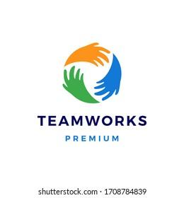 team work teamwork hand circle logo vector icon illustration