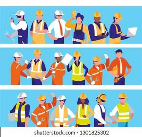 team workers people characters